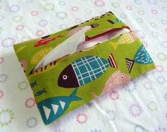Handmade Tissue Holder Fish Pattern, Pocket Tissue Holder, Tissue Pouch, Travel Tissue Holder, Green Tissue Bag with Fishes, Kleenex Pouch