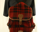 Vintage Red Plaid 90's J Crew Backpack- Large Flannel Backpack- VIntage Camping Gear- Travel Bag- Overnight Bag- Book Bag