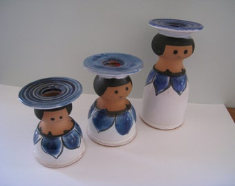 Scandinavian Danish Modern blue delph ceramic pottery set of candle holders