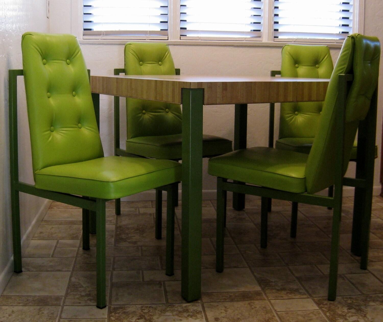 Mid Century Vintage Cal Style Apple Green Dining Set Mid Seventies Retro Brad