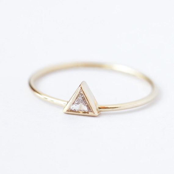 Diamond Engagement Ring - Triangle Diamond Ring - 0.11 Carat Trillion Diamond - 14k Gold