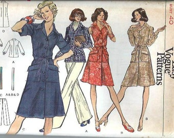 Very Easy Vogue 8766 Misses Shirt Dress, Tunic and Pants Pattern, Size 18 UNCUT