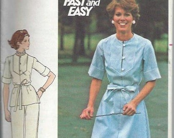 Butterick 4700 VTG Fast & Easy Misses Dress, Top and Pants Pattern, Size 18 1/2 UNCUT
