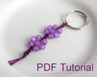 PDF Tutorial Beaded Flowers Square Knot Macrame Keychain Pattern, Instant Download Macrame Beaded Keyring Tutorial, DIY Knotted Keychain