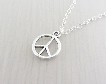 Silver Plated Peace Charm On A Sterling Silver Necklace, Silver Peace Pendant, Peace Sign Necklace, Peace Charm Pendant