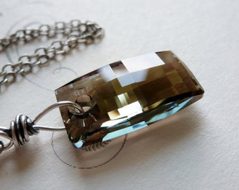 Rectangle Crystal Necklace / Sterling Silver / Iridescent Green / Khaki Green Dog Tag / Urban Pendant / Sterling Silver / SimplyJoli