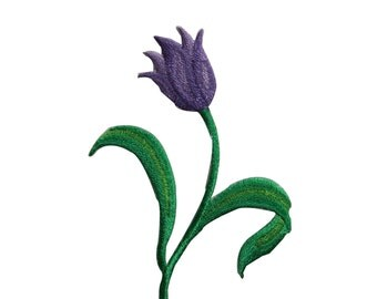 ID #6446 Purple Tulip Flower Plant Iron On Embroidered Patch Applique