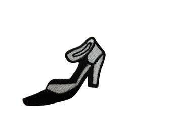 ID #7404 Black and White High Heel Fashion Iron On Embroidered Patch Applique