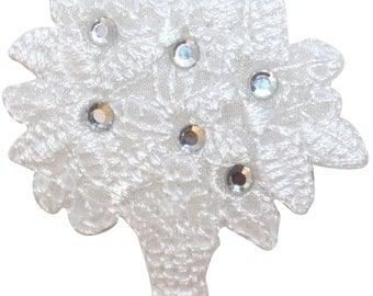 ID #6801 Sequin White Flower Vase Floral Arrangement Iron On Badge Applique Patch