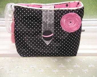 Sophisticated Black and pink polka-dot taffeta lingerie bag