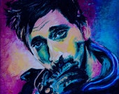 Special Offer! 50% SALE! Celebrity Portrait in original style, Adrien Brody, acrylic, paintings, canvas, birthday gift