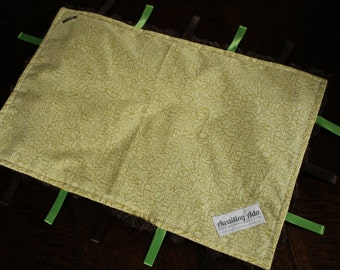 Baby Tag Blanket - Green and Brown Alphabet - Gender Neutral - Ready to Ship