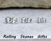 3 Pair Swarovski Xirius Crystal Color Round Rhinestone Stud Earrings-Stud Sets-Crystal Stud Sets-April Birthstone