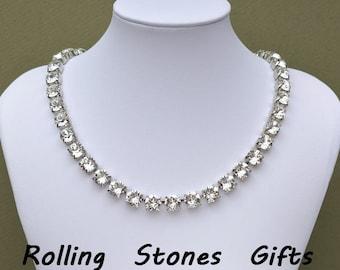 8.4mm Crystal Color Swarovski Rhinestone Rhodium Plated  Necklace-Adjustable Swarovski Xirius Crystal Rhodium Plated Necklace