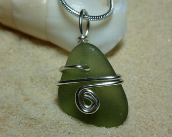 Wire wrapped green sea glass necklace with sterling silver chain
