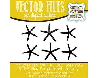 Starfish Vector Digital Cut File (eps,svg, gsd,dxf, ai, jpg, png)