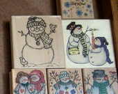Snowmen Rubber Stamps - Set of 5 and Let it Snow Stamp