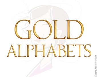 Gold Alphabet Letter Text Character Typography ABC A to Z Uppercase Serif Lettering 3D Decorative Scrapbook Jpg Png Clip Art Graphics 10105