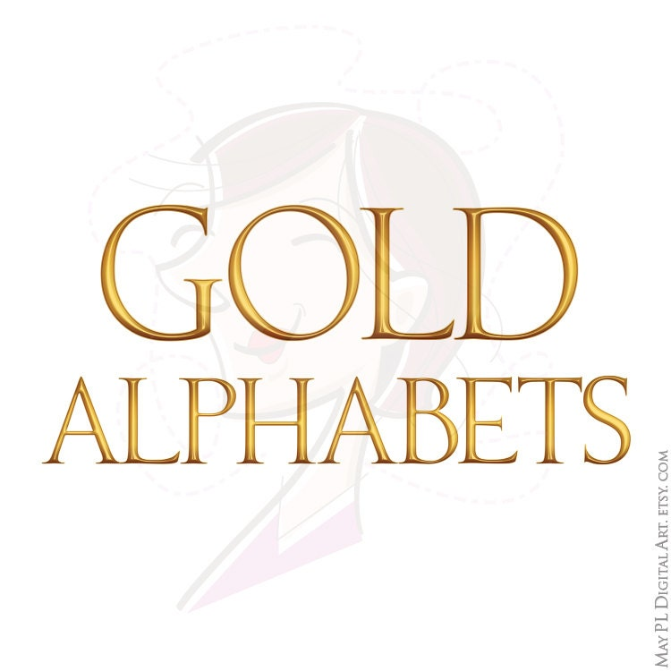 Gold stripes digital alphabet clipart golden font with large and