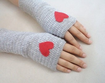 Heart Gloves, Valentines day gifts, Arm Warmers, Mittens, Romantic Gloves, Handmade Gifts, Women Accessories, Winter accessories