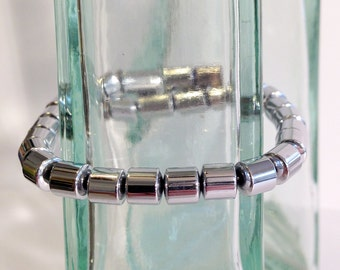 Magnetic hematite bracelet - bright silver 6mm drum beads - custom sized