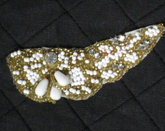 Vintage White & Gold Beaded Rhinestone Applique - Antique Supplies