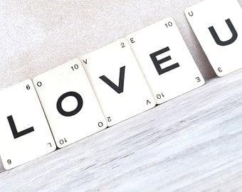 Love U. LetterGrams. Vintage Card Game Letters. Send a message. Five vintage letter game cards.