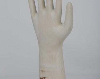 Vintage Factory Porcelain Glove Hand Mold Display Jewelry Holder Form Unglazed Large