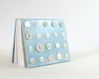 Coptic Journal - Vintage Button Art Book - 4 x 5 Blue & White Book - Hand Stitched Book - Modern Art Book - 240 Page Journal - Blank Journal