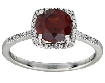 Gorgeous Garnet & Diamond Halo Engagement Ring or Right Hand Ring, January Birthstones, Valentines Day Gift