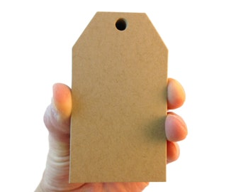 Medium Kraft Brown Luggage Tag Style Paper Tags - Create Something Truly Unique!