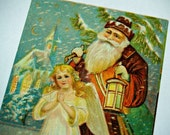 Rare Antique SANTA Claus in RUSTY Red Cloak Christmas ANGEL Postcard Holiday Greeting Artist Illustration Victoriana St. Nick Nicholas Angel