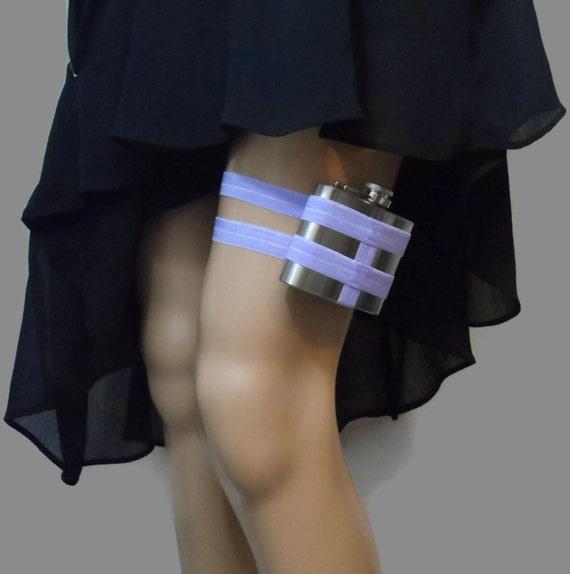 Adjustable Flask Garter 4oz FLASK - Lavender - Pin up style