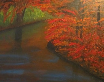 Fall Around the Bend, an acrylic painting of a fall scene