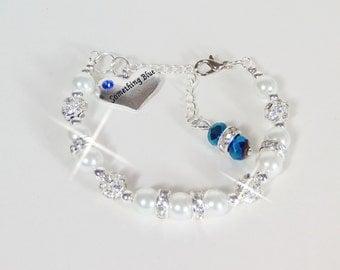 Something Blue Charm Bridal White Pearl Rhinestone Bracelet Bridal Jewelry, Wedding Jewelry, Wedding Gift, Bridal Gift, Charm Bracelet
