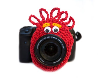 Red Alien Camera Buddy, Alien Lens Buddy, Alien Camera Critter, Newborn Photography Prop, Camera Accessory, Photographer Gift