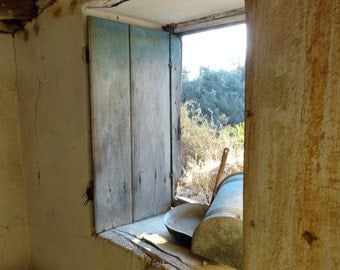 The Stains of Winter, window, farmhouse, stone, plaster, rust, blue, decay, abandoned, primitive, weathered, evocative, atmospheric, Greece