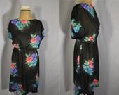 Vintage Sheer Dress 1970's Floral Summer Day Dress Large