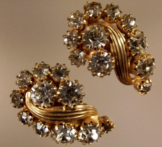 Elegant Bridal Set Heavy Gold Plated Diamante Crystal: Items Similar To Earrings Vintage Crystal Swirl Heavy Gold