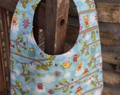 TODDLER BIB: Heidi Grace Owls on Light Blue, Personalization Available