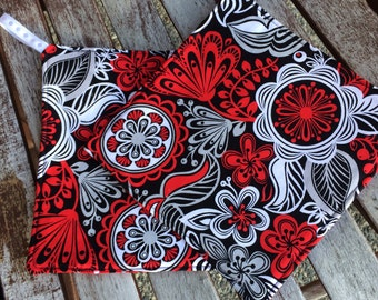 Two Pot Holders - Red White and Black Flowers with Loops, Personalization Available