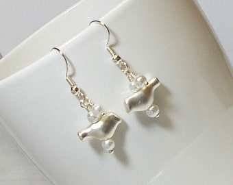Silver Bird With White Pearl Wedding Party Dangle Earring Bird Earring Silver Bird Jewelry Wedding Earring