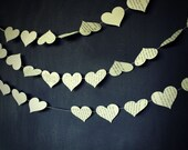 Paper Hearts Garland,  Book Page Wedding decorations, Book Page Garland,Wedding Garland,Heart Garland,Storybook Wedding,10 foot long garland