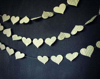 Paper Garland, Heart Garland, Wedding Garland, Book Page Wedding Decoration, Storybook Wedding, Paper Hearts Garland - 10 foot long garland