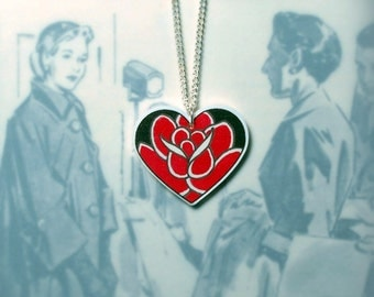 Ace of Hearts Red Rose Tattoo Pendant