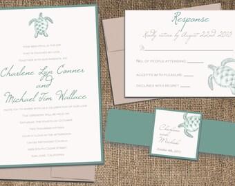 Sea Turtle Wedding invitation