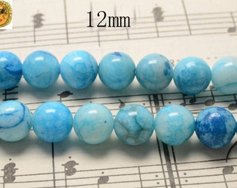15 inch strand of Blue crazy lace agate smooth round beads 12mm