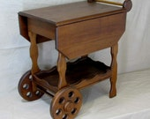 Walnut Tea Cart with tray, drop leaves, and drawer
