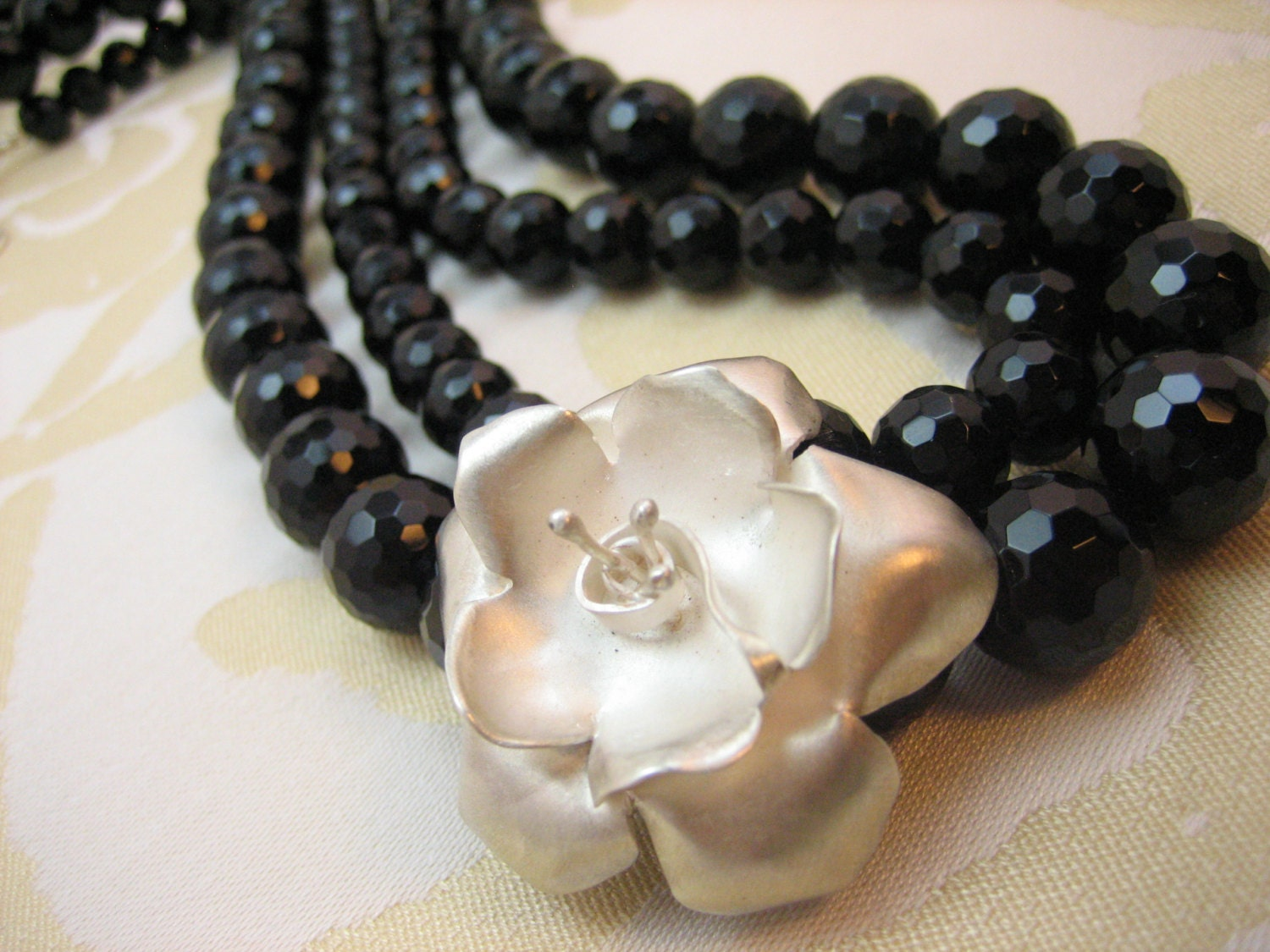 Silver rose flower with black onyx double strand necklace, hammered silver rose statement necklace, artisan made hammered silver pendant