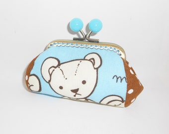 Sky blue Teddy  bear chocolate dots  coin/change pouch/purse/wallet w bubble head metal frame